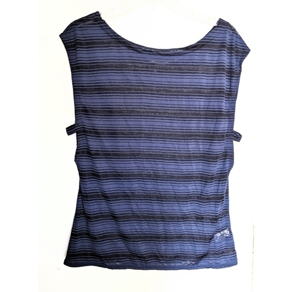 Athleta Tops - Athleta blue semi sheer open side yoga workout top